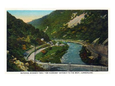 Cumberland, Maryland - National Road Through the Narrows Scene