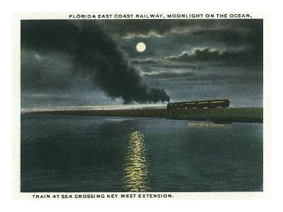 Key West, Florida - Key West Extension Train at Night