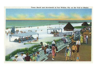 Fort Walton, Florida - View of Beach, Boardwalk, Gulf of Mexico
