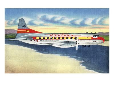 View of Western Airlines Plane in the Air