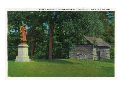 Letchworth State Park, New York - View of the Mary Jemison Statue, Indian Council House