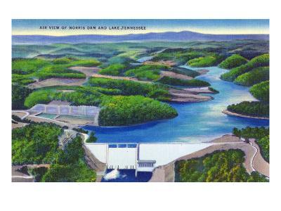 Norris, Tennessee - Aerial View of Norris Dam and Norris Lake