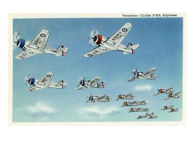 US Army - Curtiss P-36A Airplanes in Formation