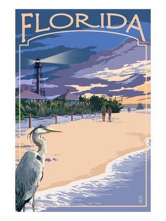 Florida - Lighthouse and Blue Heron Sunset