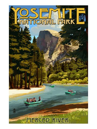 Merced River Rafting Yosemite National Park California Lantern Press