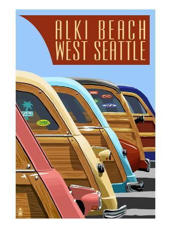 Alki Beach, West Seattle, WA - Woodies Lined Up