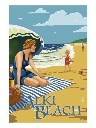 Alki Beach, West Seattle, WA - Woman on Beach
