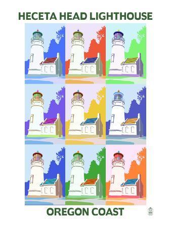 Oregon Coast - Heceta Head Lighthouse Pop Art