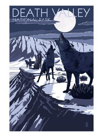 Wolves and Full Moon - Death Valley National Park