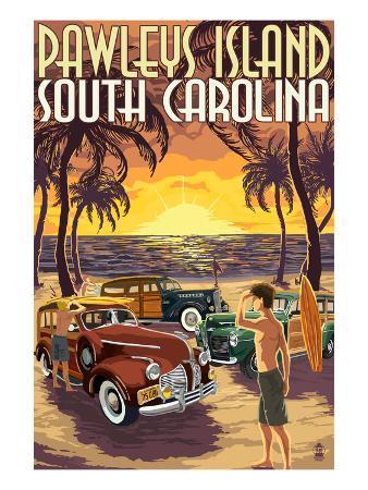 Pawleys Island, South Carolina - Woodies on Beach
