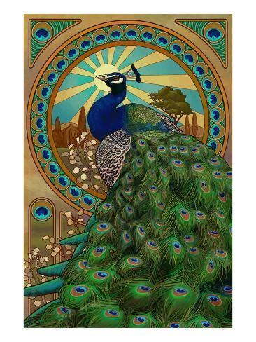 Peacock Art Nouveau Poster By Lantern Press At