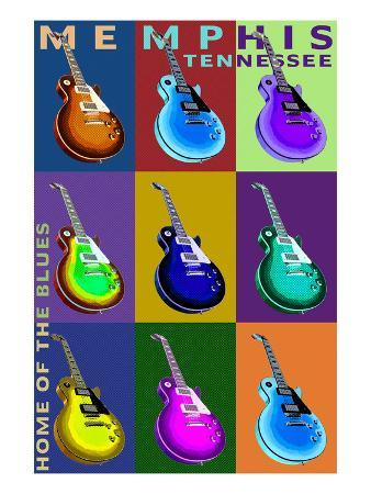 Memphis, Tennessee - Guitar Pop Art