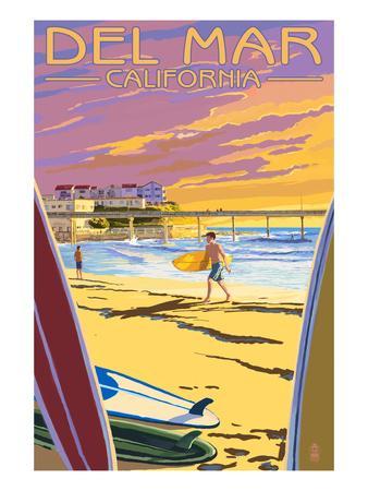 Del Mar, California - Beach Surfers and Pier
