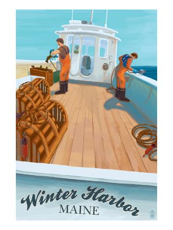 Winter Harbor, Maine - Lobster Boat Scene