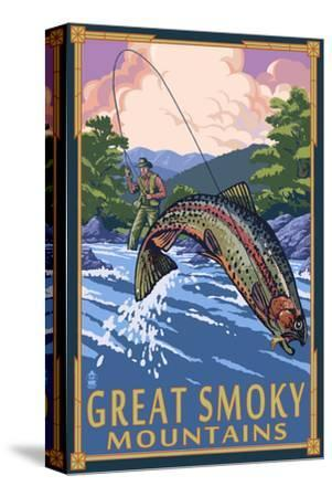 Angler Fly Fishing Scene - Great Smoky Mountains