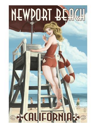 Newport Beach, California - Lifeguard Pinup