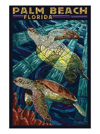Palm Beach, Florida - Sea Turtle Paper Mosaic
