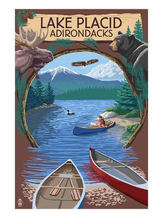 Lake Placid, New York - Adirondacks Canoe Scene