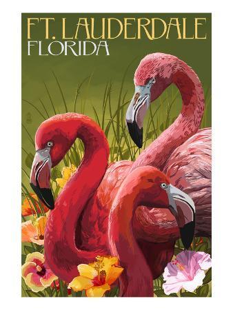 Ft. Lauderdale, Florida - Flamingo Scene