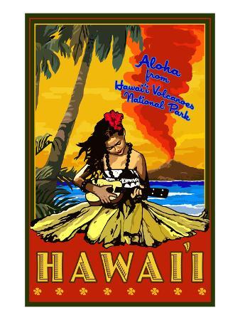 Hula Girl and Ukulele - Hawaii Volcanoes National Park