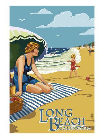 Long Beach, California - Woman on the Beach