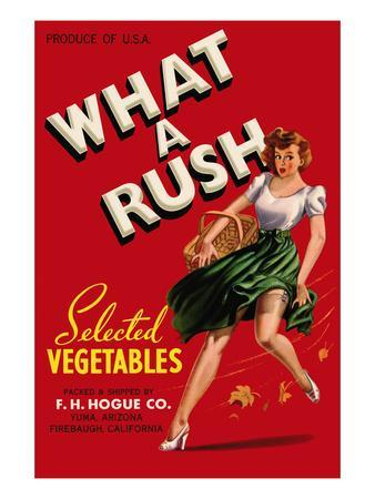 What a Rush - Vegetable Crate Label