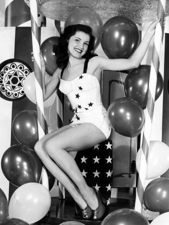 Debra Paget, Age 16, Strikes a Patriotic Pose, 1949