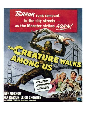The Creature Walks Among Us, Bottom From Left: Leigh Snowden, Jeff Morrow, Rex Reason, 1956
