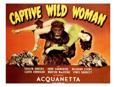 Captive Wild Woman, Ray 'Crash' Corrigan (As the Gorilla) Carrying Acquanetta, 1943