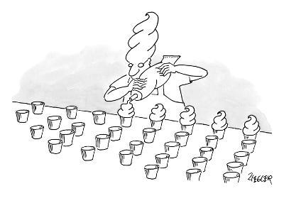 A man with a cupcake styled hairdo puts icing on cupcakes. - New Yorker Cartoon
