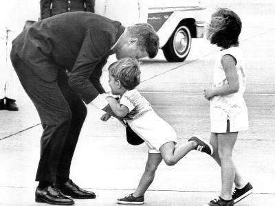 Pres John Kennedy and Children, John Jr and Caroline at Squaw Island, Massachusetts, Aug 23, 1963