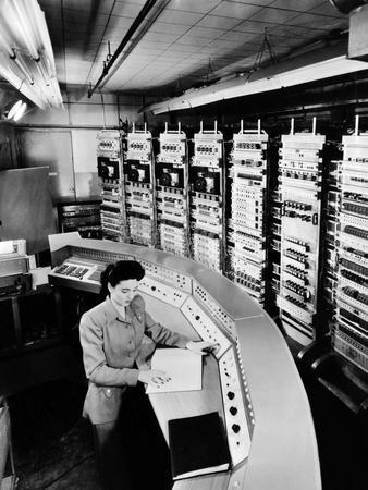Female Operator at the Console of the 'Raydac', Raytheon Digital Automatic Computer, August 2, 1952