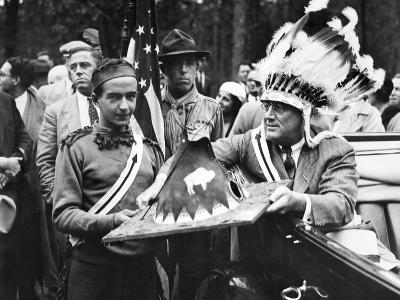 President Franklin Roosevelt in a War Bonnet