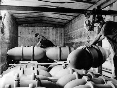War Workers at Blaw-Knox Company's Bomb Finishing Plant Load Bombs into Freight Cars, Nov 27, 1943