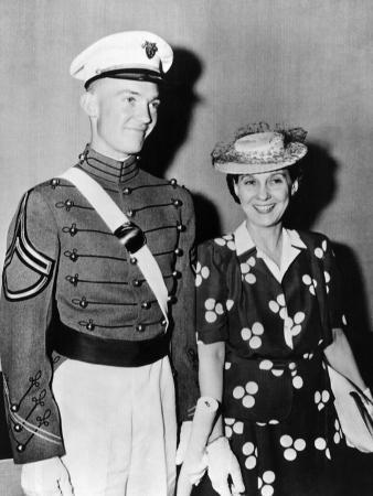 Mrs Dwight D Eisenhower with 22 Year Old John after West Point Graduation, Jun 6, 1944