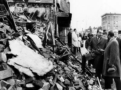 Pres Richard Nixon Visited Scarred 2-Block Area of Northwest Washington