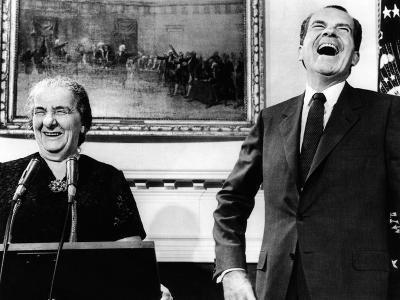 Israeli Prime Minister Golda Meir and Pres Richard Nixon with Press in Roosevelt Room, Sept 26 1969