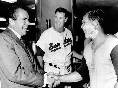 President Richard Nixon Greets Washington Senators Catcher Jim French after their Win over Brewers
