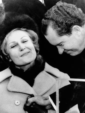 Pat Nixon Grasps Her Husband's Hand after He Delivered His Inaugural Address, Jan 20, 1969