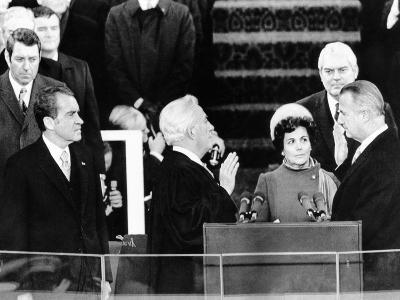 President Richard Nixon Watches Vice President Spiro Agnew Take His Oath of Office