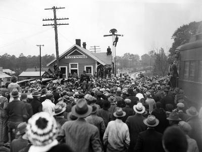 President-Elect Franklin Roosevelt Was Greeted by a Crowd at the Warm Springs Railroad Station