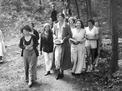 First Lady Eleanor Roosevelt Visits a Camp Tera for Unemployed Women Near Bear Mountain, NY