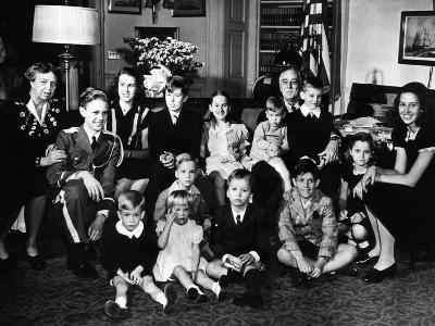 Pres Franklin and Eleanor Roosevelt with Grandchildren at His Fourth Inauguration, Jan 20, 1945