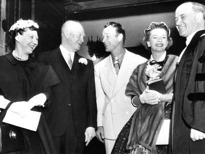 President and Mrs Eisenhower (Left) Talk with Cowboy Film Star Roy Rogers and His Wife, Dale Evans