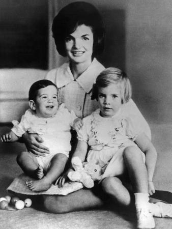 Jacqueline Kennedy with Two Children, Baby John F Kennedy Jr and 4 Year Old Caroline, April 1962