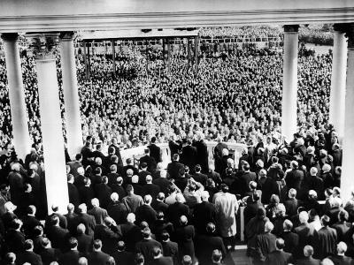 President Eisenhower's First Inauguration Against Backdrop of Crowd at the Capitol, Jan 20, 1953