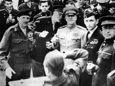 Allied Leaders Drink a Victory Toast at Frankfurt Am Main, Germany