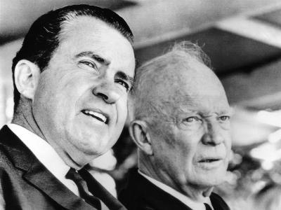 Former Vice Pres Richard Nixon and Former Pres Dwight Eisenhower at Hoover 91st Birth Remembrance