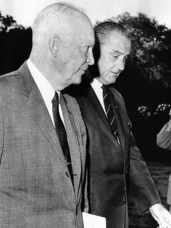 President Johnson Walks with Former President Dwight Eisenhower