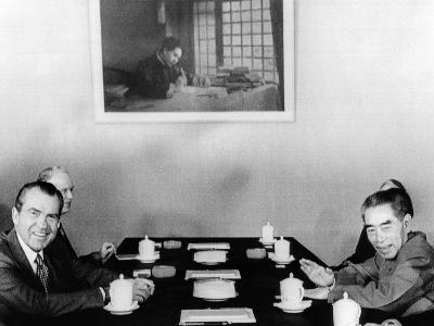Pres Richard Nixon and Premier Chou En-Lai Begin Third Day of Formal Talks in Beijing